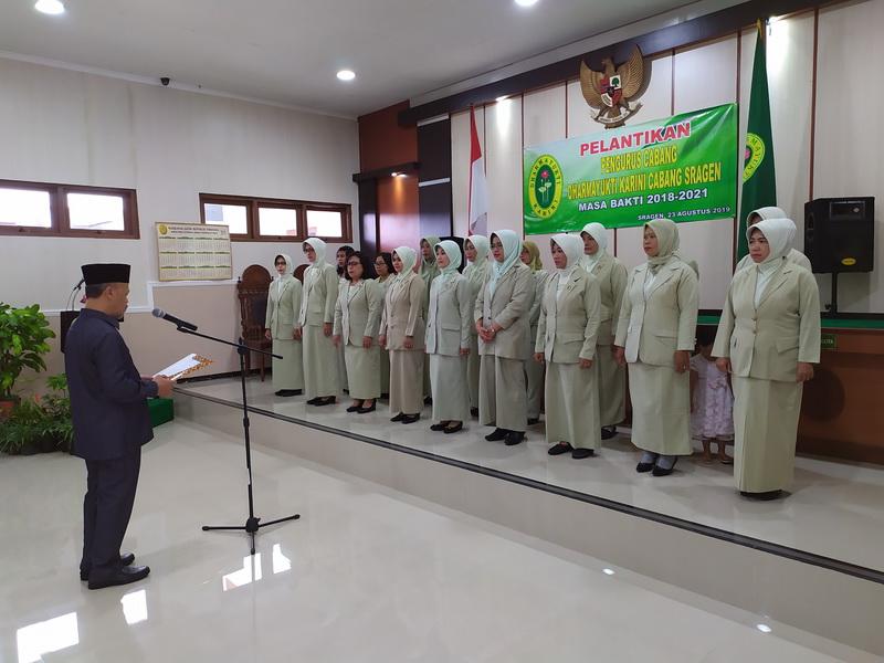 Pelantikan Pengurus Dharmayukti Karini Cabang Sragen Masa Bakti 2018-2021