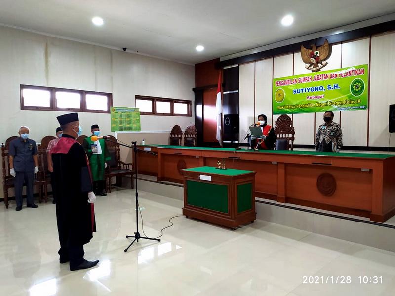 Pengambilan Sumpah Jabatan dan Pelantikan Wakil Ketua Pengadilan Negeri Sragen Kelas IA